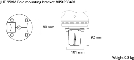 JUE-95VM pole mounting bracket dim