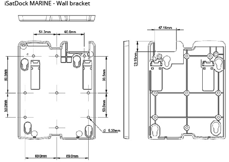 iSatDock wall bracket dim