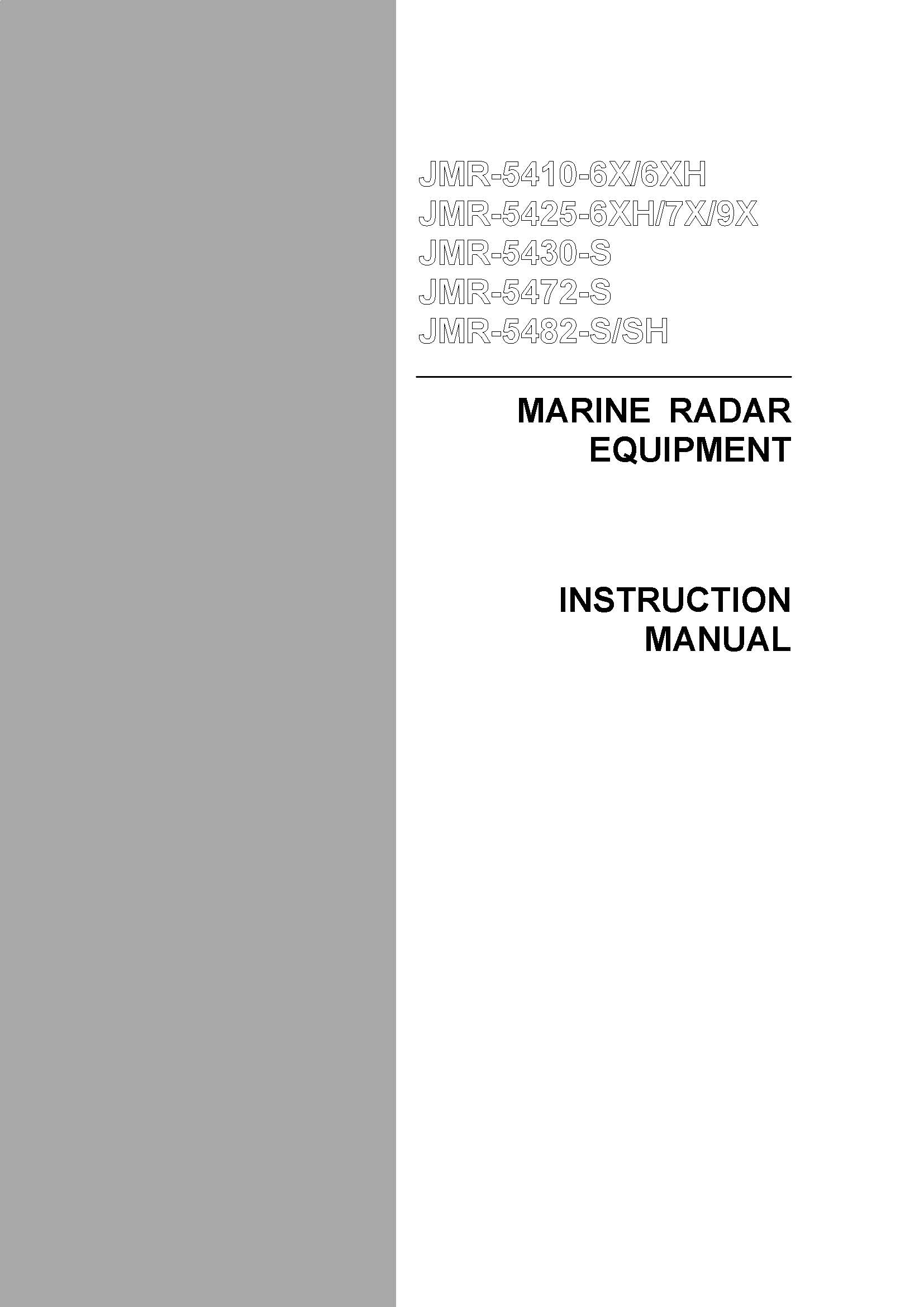 JMR 5400 InstructionManual frontpage