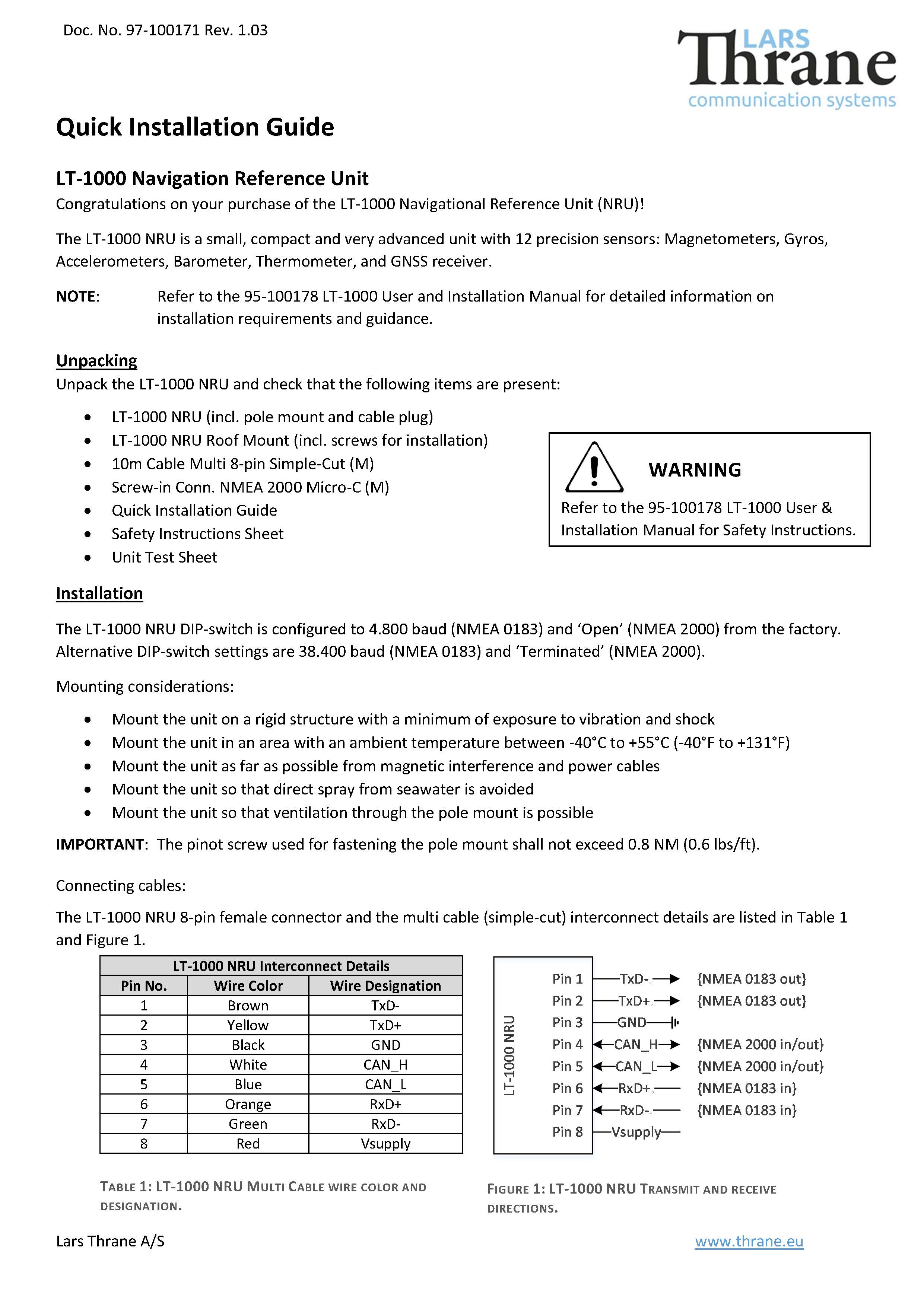 lt 1000 quick installation guide rev 1.03 Page 1