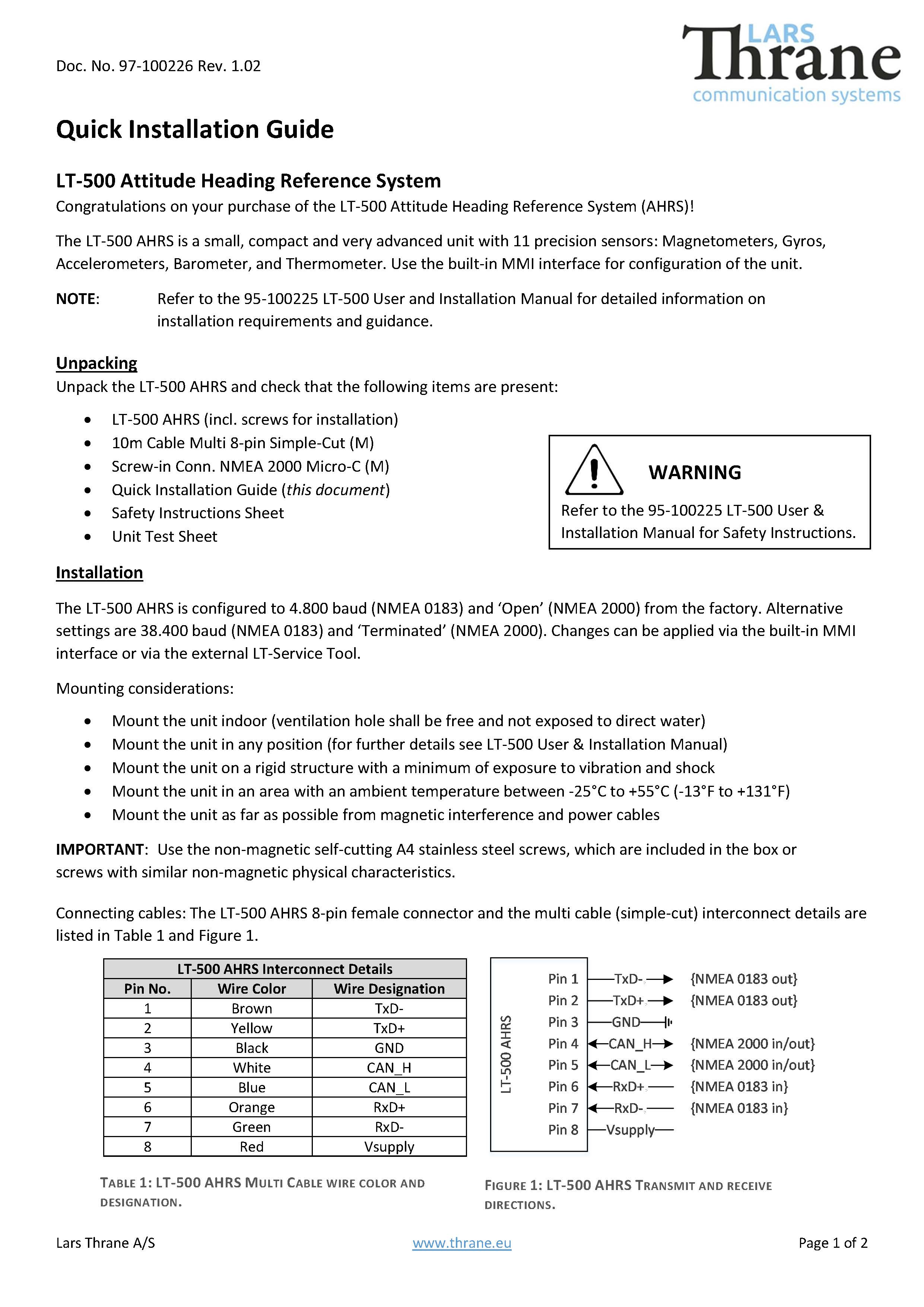 lt 500 quick installation guide forside Page 1